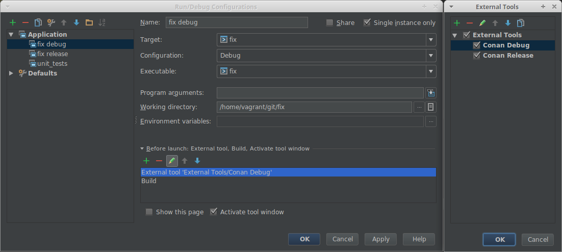 External Tool configuration in CLion