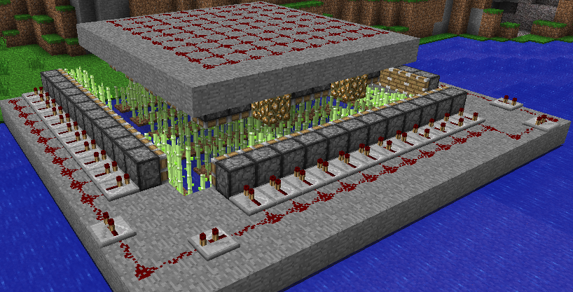 An automatic sugar cane farm, from http://www.minecraftbuildingideas.com/p/farming-new.html