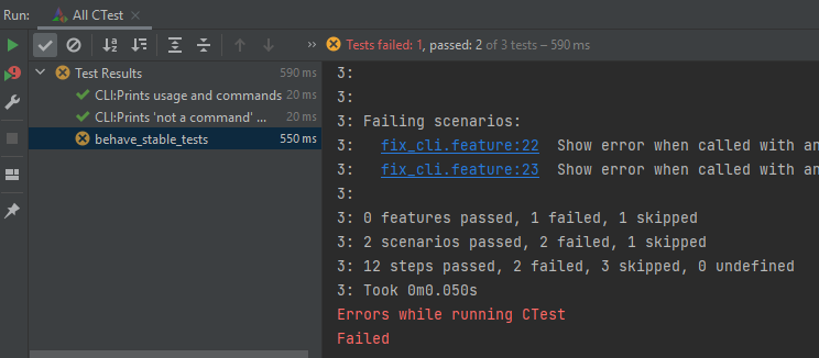 Image of CTest running behave tests in CLion